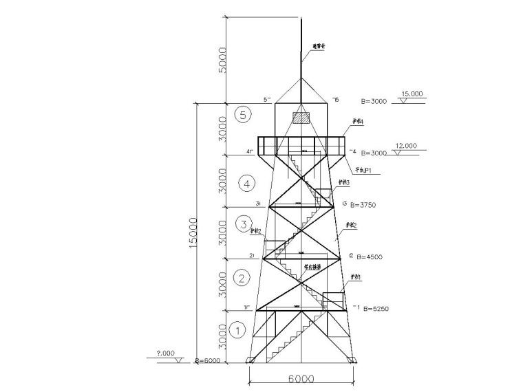 15米瞭望塔钢结构图