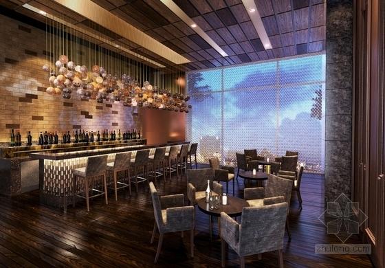 [北京]东三环CBD全球控股超五星级高端豪华白金酒店施工图(含效果)大堂酒吧效果图