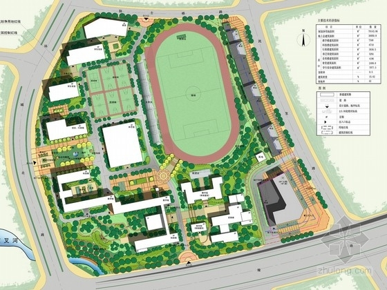 [安徽]年轻化活力清新中学校园景观设计方案