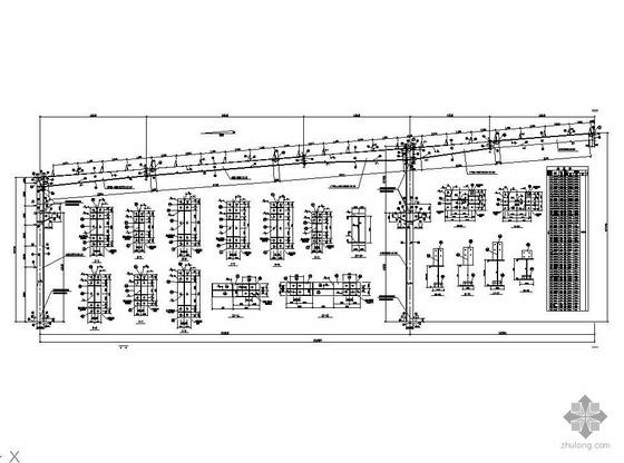 某3X21m三连跨全套钢结构生产车间结构图