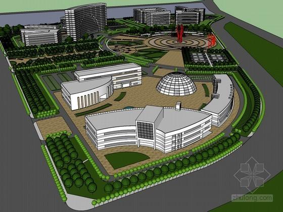 城市广场设计SketchUp模型下载