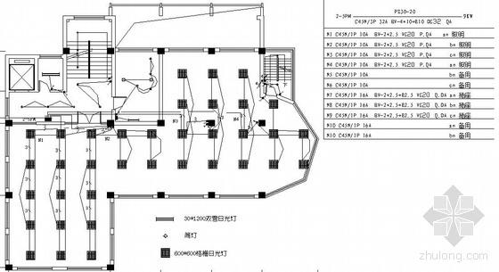 上海某五层办公楼电气平面图