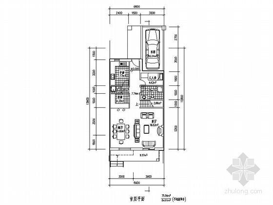 某三层带车库联排别墅平面图(北入口、236平方米)