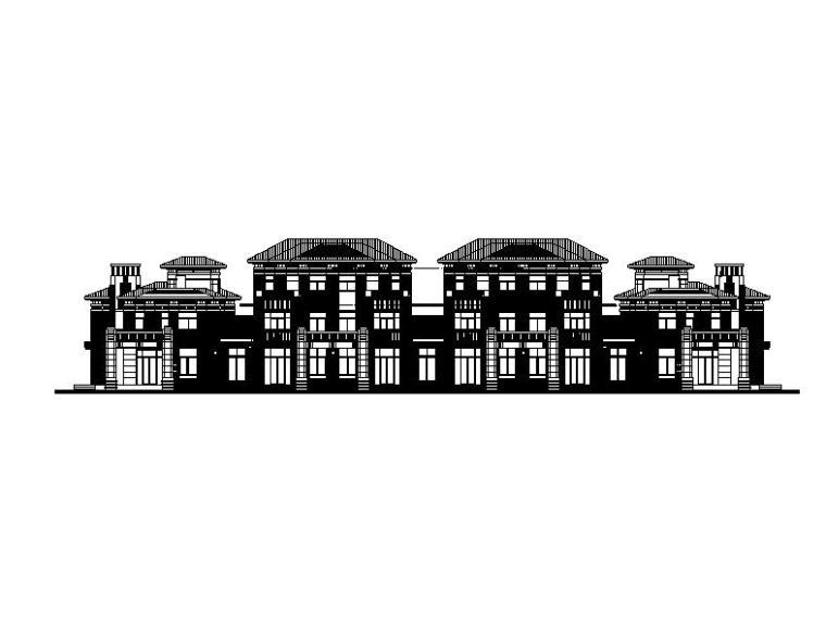[山东]三层新中式风格叠拼及联排式别墅建筑施工图