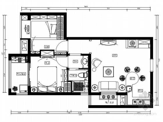 田园风格两居室样板房装修图(含效果)
