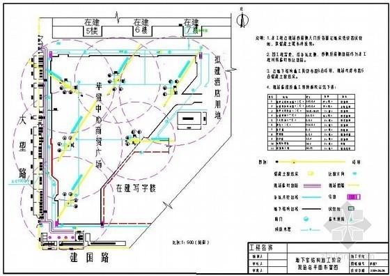 [北京]商业广场工程施工现场平面布置图(主体、装修、临时临电、消防)