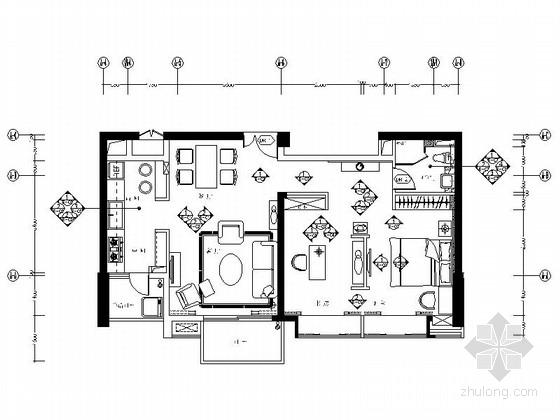 [厦门]简欧风情B户形一居室样板房装修设计施工图(含效果)