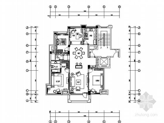 [原创]精致简欧设计风格样板房施工图(含高清效果图及材料表)