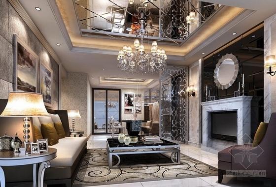 [广东]三居室样板房室内装修设计CAD施工图(含效果)客厅效果图