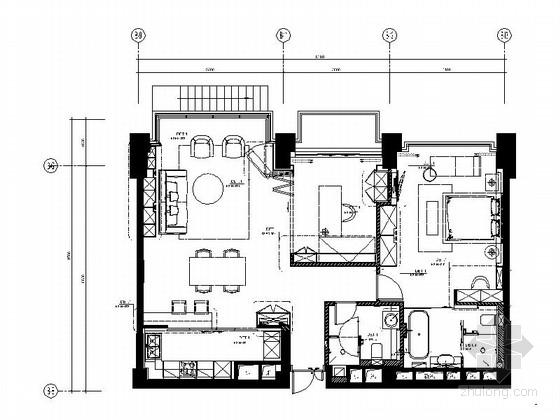 [上海]时尚现代两居室精装样板房装修施工图(含实景)