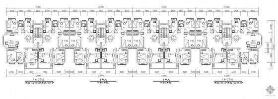 板式多层一梯二户八户户型组合平面图