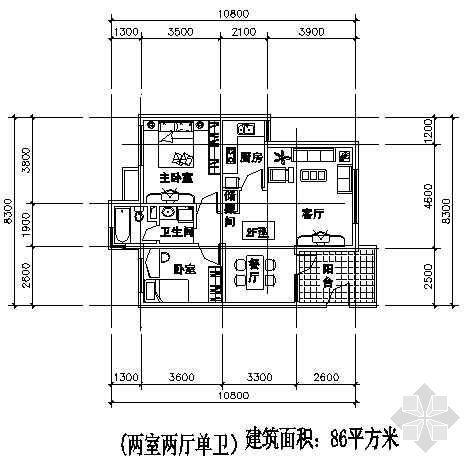 两室两厅一厨两卫86平方米