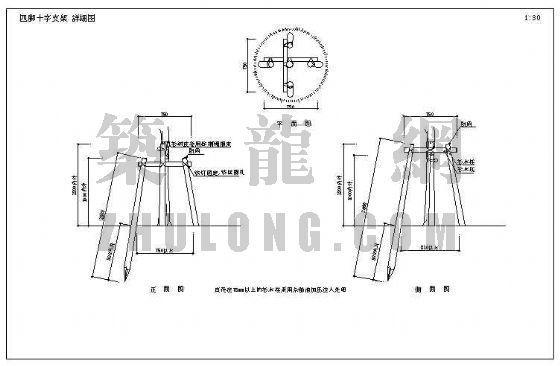 园林树木支架详图—四脚十字支架-4