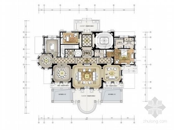 [宁波]时尚维多利亚风格联排三层别墅装修设计概念方案