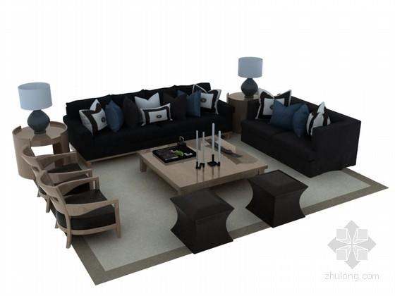 欧式现代沙发3D模型下载