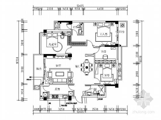[广州]现代高档简欧三居室装修图(含效果)
