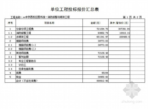 [山东]中学图书馆消防工程量清单报价(2012)