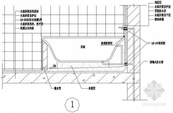 厕浴间浴缸防水构造