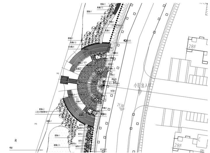 [武汉]高档居住区附属滨湖公园景观工程施工图-部分植物设计