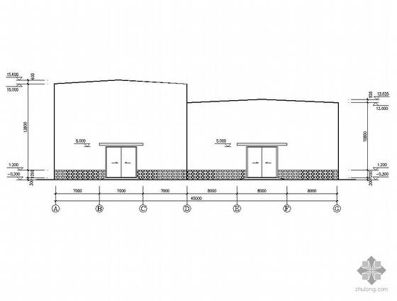 某2X21m双高低跨排架结构轧钢车间施工图