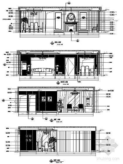 简欧客餐厅立面设计图