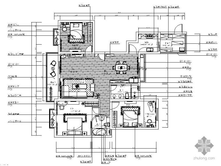 现代三室两厅户型平面图