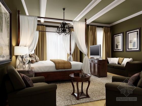新中式卧室效果图3D模型