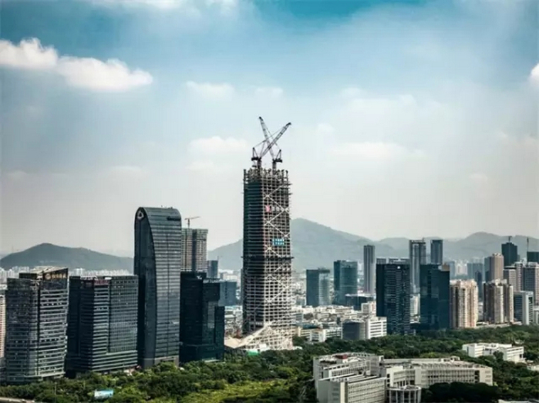 世界最高核心筒外置全钢结构建筑深圳汉京中心大厦封顶!