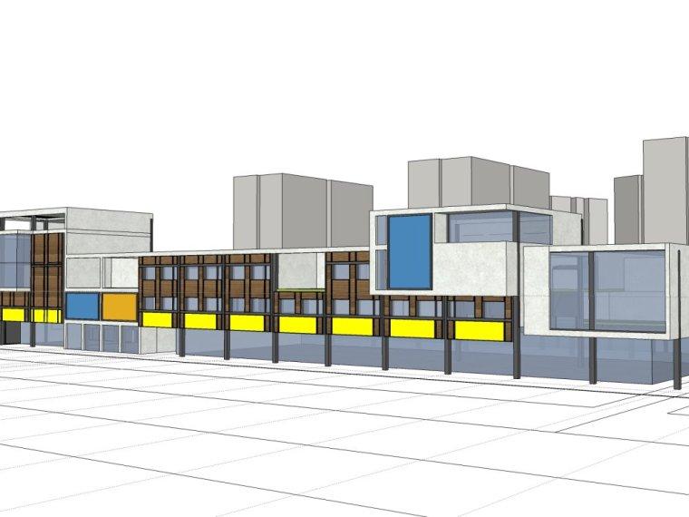 规划住宅现代高层平面立面总图skp+商业商业街平面立面总图