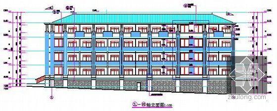 [山东]中学宿舍楼建筑安装工程预算书(附图纸及软件应用)-立面图
