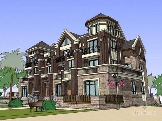 英式风格联排别墅sketchup模型下载