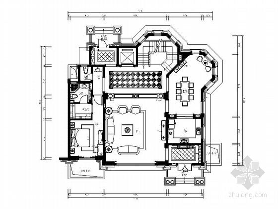 [常州]豪华三层别墅欧式风格样板房室内设计施工图(含效果图)