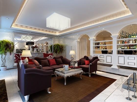 欧式新古典客厅装修资料下载-新古典欧式别墅客厅3d模型下载