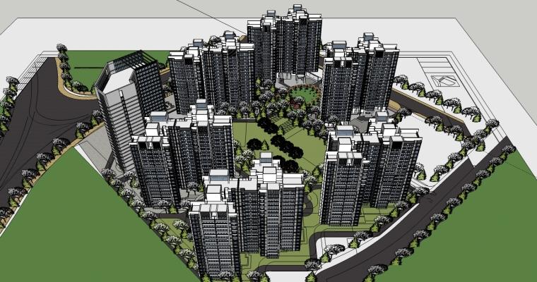 [北京]现代风格住宅小区规划设计SU模型