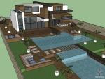 现代风格别墅设计(含泳池、庭院)SU模型