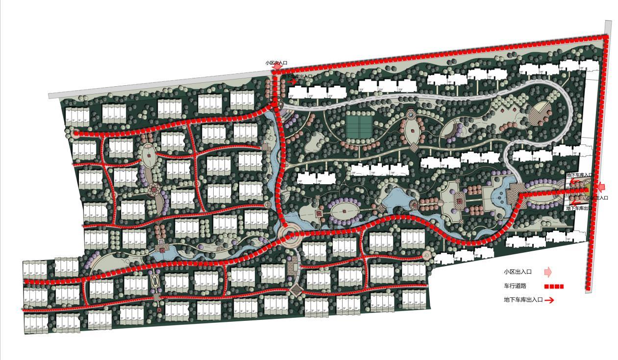 高层竖向线条住宅区规划及联排式单体建筑分析图