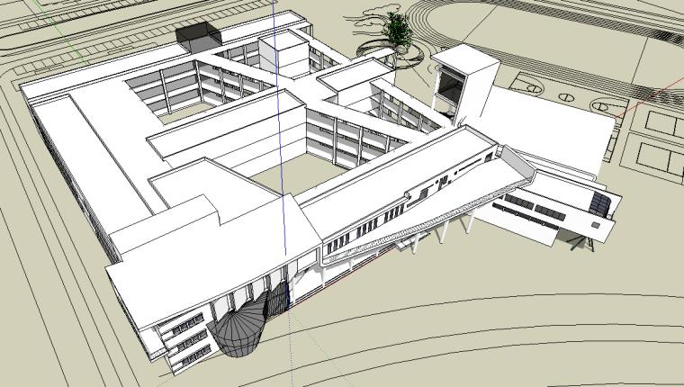某学校科技楼现代风格SU建筑模型
