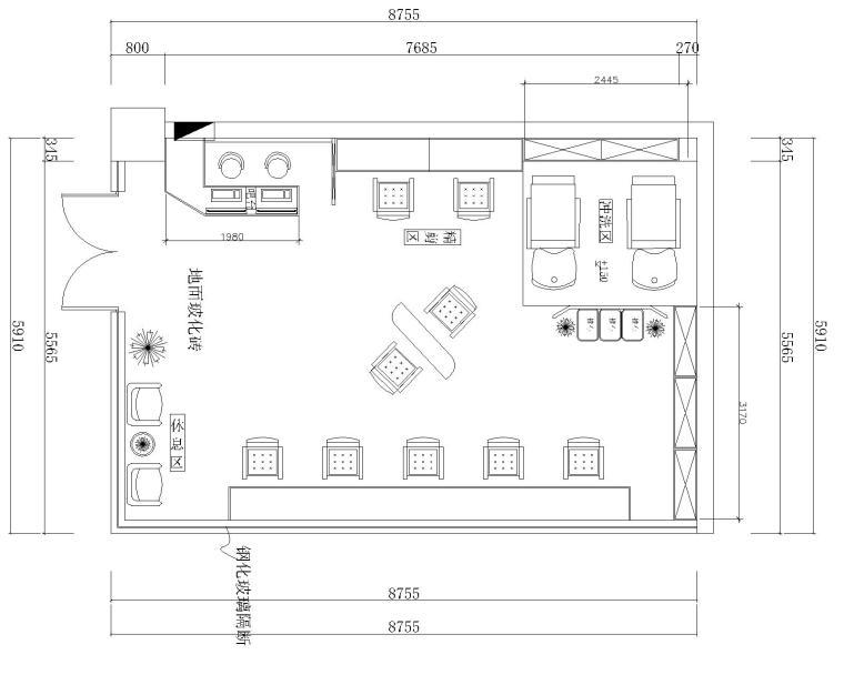 某理发店室内装修施工图设计(附效果图)