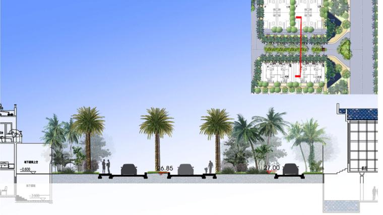 [海南]三亚高端温泉度假公寓景观设计方案(东南亚风格)-高端温泉度假公寓景观设计——景观大道剖面图