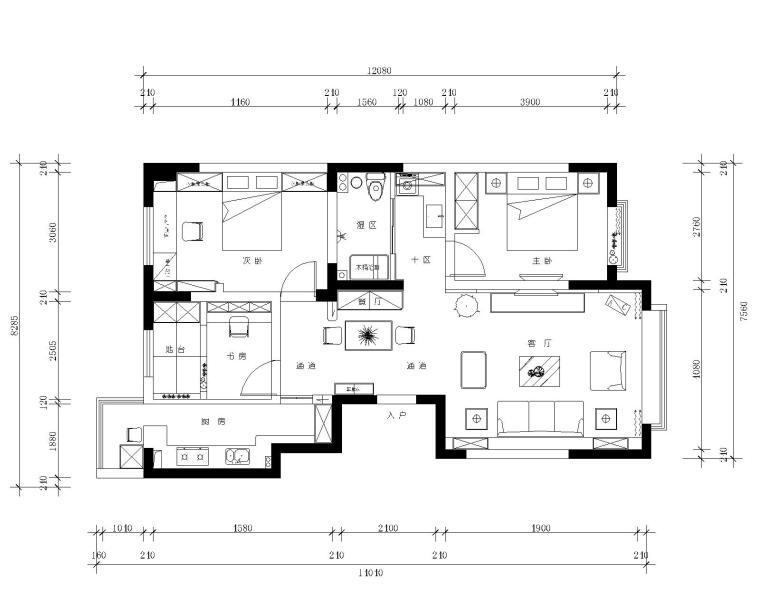 [福建]96平米小型地中海风格三居室施工图设计(附效果图)