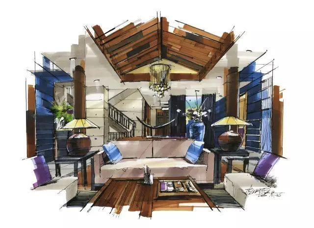 室内手绘 室内设计手绘马克笔上色快题分析图解_19