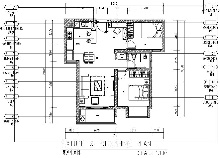 80平米混搭风格二居室住宅设计施工图(附效果图)