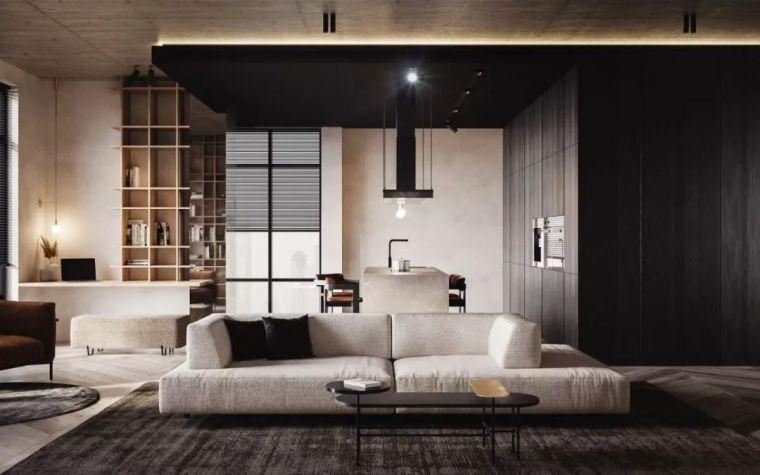 极简搭配,白色裸露墙面原来也可以让公寓显的那么高级