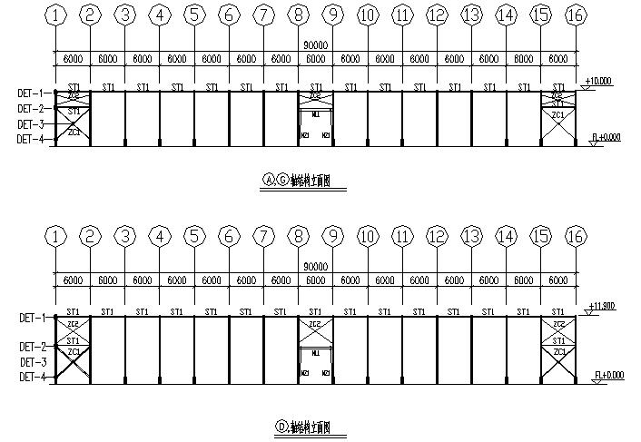 南安轻型门式钢屋架结构工程厂房(CAD,12张)