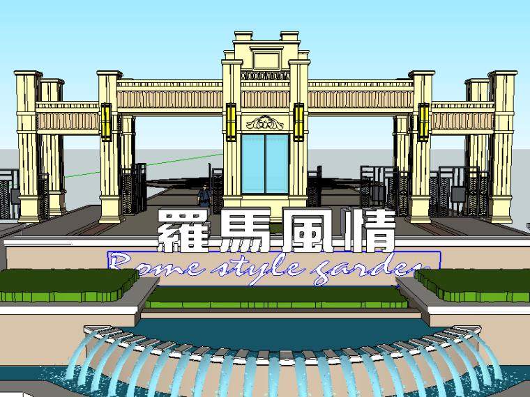 居住小区入口su模型(欧式)