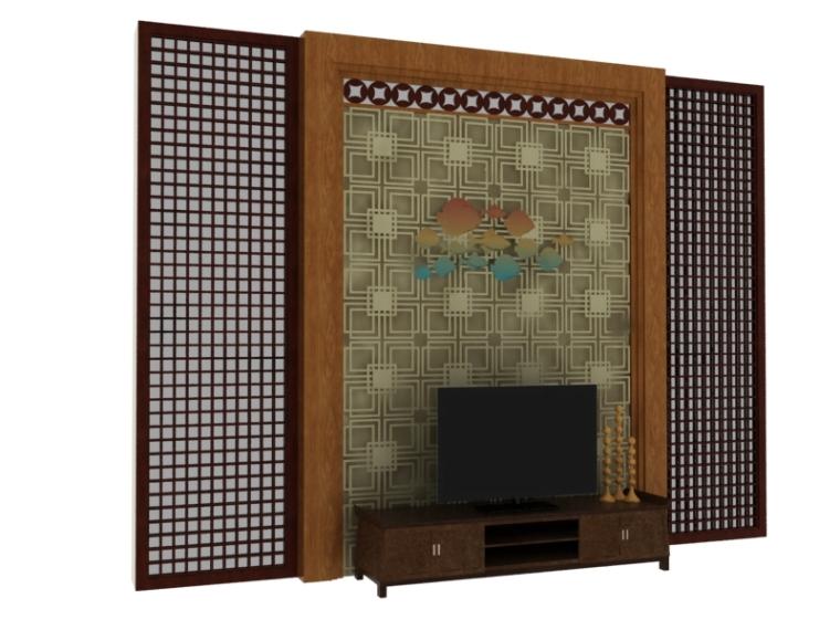 典雅电视墙3D模型下载