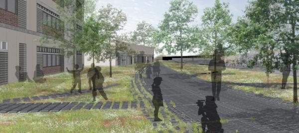 校园生态建筑景观_生态人文小学校园景观深化设计方案   目录:交通流线分析图,建筑功能