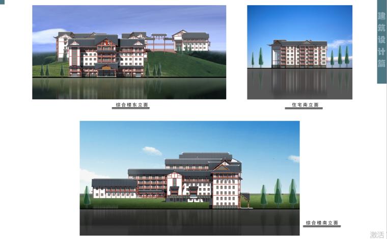 湖南省湘西土家族苗族自治州某中医院建筑设计文本-南立面图