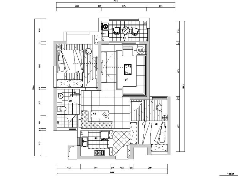 金地艺境秘色主题二居室住宅设计施工图(附效果图)