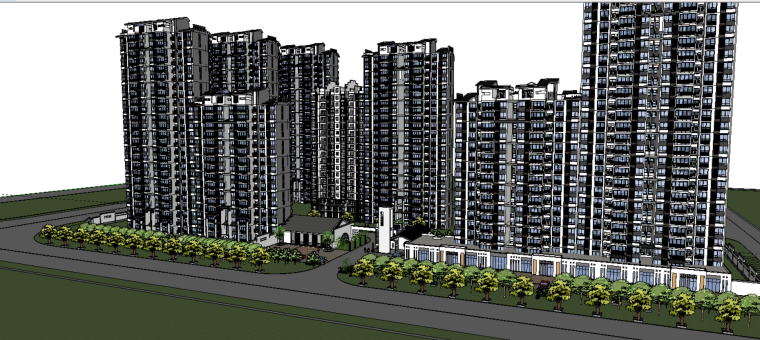 某小区总体规划方案设计(SU模型)